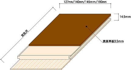 三層フローリング Usual(ユージアル)シリーズ 1枚物断面図