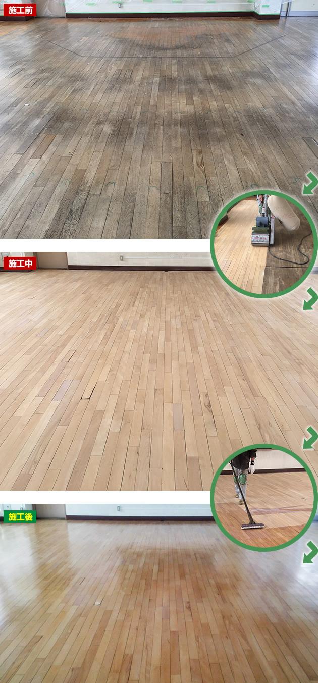 フローリング床の再生施工例